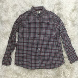 Old Navy Men's Gray & Red Plaid Button Up Shirt
